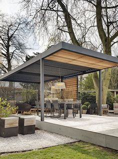 Create free standing Umbris patio roof structures to cover garden dining areas, kitchens or pool areas. These structures can be designed with minimal supporting posts or vertical timber louvres for additional protection.