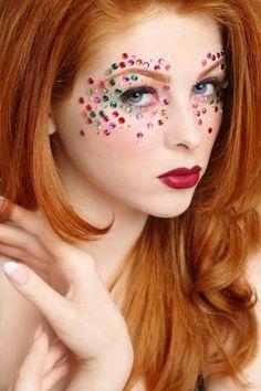Lovely yet easy look-Design Eye Fantasy Fairy Makeup Jewel Makeup, Sparkly Makeup, Circus Makeup, Face Rhinestones, Fantasy Make Up, Rave Costumes, Magical Makeup, Make Up Art, Fairy Makeup