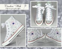 Part of our new season Bridal collection , These high top Converse have;  - Fully crystallised toes - Outsides of the shoes scattered with jewels , and various shaped mirrored gems and tiny teardrop shape crystals - Backstrips fully crystallised with various shapes of crystals for a real sparkle.