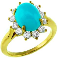Estate Tiffany & Co Cabochon Persian Turquoise & 0.60ct Round Cut Diamond 18k Yellow Gold Ring
