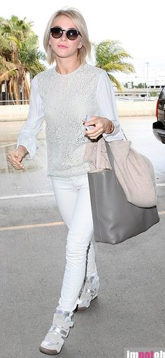 Actress Julianne Hough spotted wearing 'Alex Bis' in silver and clay  http://www.ashfootwear.co.uk/womens-c1/wedges-c22/wedge-trainers-c64/ash-alex-bis-silver-and-clay-high-top-wedge-trainers-p656