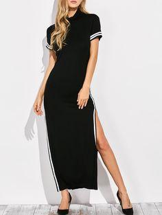 Cut Out High Neck Side Slit Maxi Dress