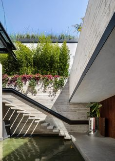 Taller Paralelo turns abandoned Mexico City building into Cachai House Abandoned Buildings, City Buildings, Outside Stairs, Stairs Architecture, Landscape Architecture, Small Courtyards, Narrow House, Garden Steps, Stair Decor
