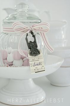 """candy jar with """"sweets"""" tag"""