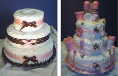 """Pastel"" de pañales como centro de mesa para un baby shower"