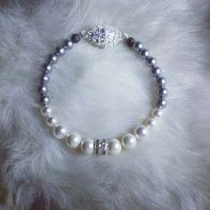 Swarovski and Stellaris pearl bracelet with center crystals and magnetic crystal  clasp by Miss D