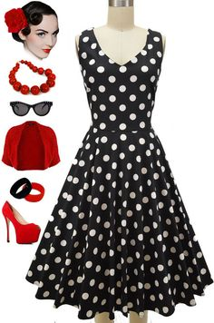 Brand new in store at Le Bomb Shop!! Finally.. some MISSES sized dresses with knee-length full circle skirts! Available in red polka dot and black polka dot, small, medium and large (use the measurements!), $54 with FREE U.S. s/h. Buy them here: http://lebombshop.net/search?type=product&q=v-neck+misses+knee+length+minnie+pinup+sun+dress&search-button.x=0&search-button.y=0