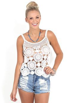 Free Pattern/written instructions for motifs {Outstanding Crochet: Crochet Top from Eternal Sunshine Creations.}