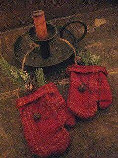 Christmas Winter red mittens & candlestick Vintage Rustic Primitive décor Toni Kami  Joyeux Noël