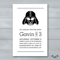 Darth Vader Birthday Party Invitation  |  Darth Vader Invite  |  Star Wars Birthday Invitation  |  Star Wars Invite