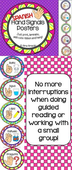 Hand Signals -No more interruptions during guided reading! Available in English by Alma Almazan