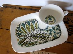 "Figgjo Flint ""bird"" TV or snack plate with cup, rare set, door HuntersKitchen, €64.00"