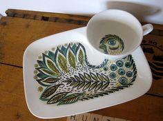 """Figgjo Flint """"bird"""" TV or snack plate with cup, rare set, door HuntersKitchen, €64.00"""