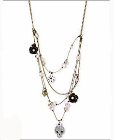 "Betsey Johnson NWT ""Girlie Grunge"" Crystal Skull Multi-Row Illusion Necklace"