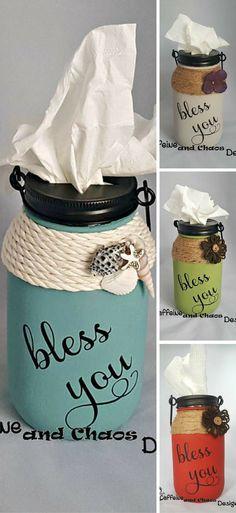 $12.99 Bless you Mason Jar tissue holder. #Farmhouse #homedecor #red #blue #green #tissueholder #Blessyou #homestyling #masonjar #ad
