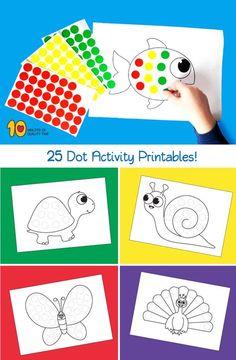 25 Dot Activity Printables Preschool Arts And Crafts, Preschool Printables, Preschool Learning, Teaching, Toddler Fun, Toddler Crafts, Creative Activities, Preschool Activities, Do A Dot