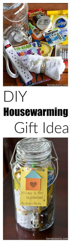Aw, how cool is this! DIY Housewarming Gift Idea! They can even use the drink dispenser again and again!