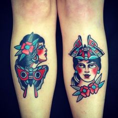 both shins tattooed by Dani Queipo at Seven Doors Tattoo in London
