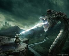Art by rodolfoguerreiro - An air mage fends off a wyrm.  I don't think a lightning blast is going to be enough...