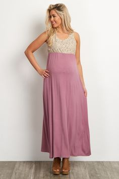 6adf01a64e072 Mauve Crochet Top Maternity Maxi Dress