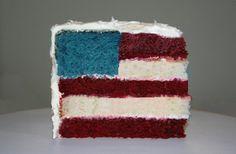 Red velvet cake in red, white and blue!