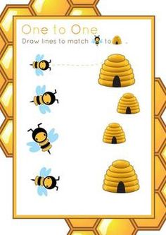 Bee Theme - Math Readiness by hidesy Summer Preschool Activities, Math Games For Kids, Preschool Learning Activities, Bee Crafts For Kids, Bug Crafts, School Themes, Classroom Themes, Bee Games, Chinese Book