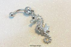 Bellybutton ring, cute naval ring with cute crystal seahorse 14 gauge | YOUniqueDZigns - Jewelry on ArtFire
