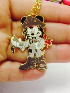 Mickey Mouse as Captain Jack Sparrow from Pirates of the Caribbean Upcycled Disney Trading Pin Necklace  by BeautifulBaublesSC on Etsy, $18.00
