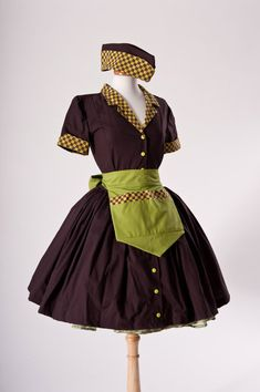 Car Hop Costume Retro 50s Waitress Dress Apron and by MGDclothing, $239.95