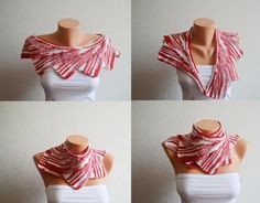Christmas Wingspan Shawl Red and white  neckwarmers by NesrinArt,
