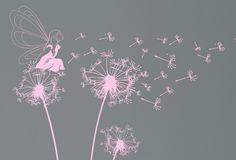 Fairy blowing dandelion Wall Decal. Wall Sticker.Nursery wall decal. $56.00, via Etsy.