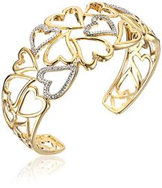 Amazon Collection Sterling Silver Diamond Accent Hearts Cuff Bracelet