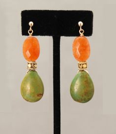 COURAGE, KINDNESS & CREATIVITY earrings: Green Turquoise with Red Aventurine orange faceted beads on Gold posts