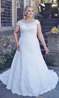 New Beaded Lace Wedding Dresses Bridal Gown custom plus size 6-22++