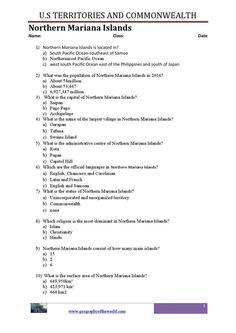 U.S geography trivia PDF worksheets on U.S territories and commonwealths worksheets