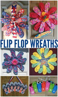 dc5ac2788c5a3 Summer flip flop wreaths - what a cute craft to hang on a door ...