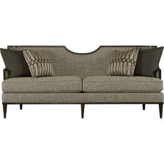 Furniture Harper Mineral Sofa - Modern classic styling creates a dramatic look for the Harper Mineral Sofa. Rich mink finish highlights the carved wood frame. The sweeping half moon shape makes a stylish statement. Tapered wood l Living Room Sofa, Living Room Furniture, Living Rooms, Living Spaces, City Living, Family Rooms, Sofa Furniture, Furniture Design, Funky Furniture