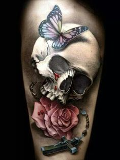This would be a great thigh tat or as a cover up..its really colorful even though has black's /Greys