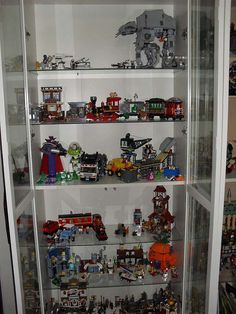 Lego display options: Ikea Billy bookcase with glass doors