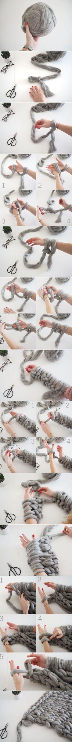 DIY - Knit a chunky blanket from wool roving 17 Cozy DIY Projects to Keep You Warm This WinterDIY - Knit a rough blanket of wool roving - Gis K - - DIY – Stricken Sie eine grobe Decke aus Wolle Roving DIY – Knit a Rough Roving Wool Blanket 17 coz Knitting Projects, Crochet Projects, Sewing Projects, Craft Projects, Arm Knitting, Knitting Patterns, Crochet Patterns, Knitting Ideas, Yarn Crafts