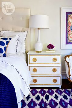 interior design bedroom by style at home: ikea hack gilt gold and white bedside dresser table, white table lamp, blue white linen, louis arm chair Style At Home, Home Bedroom, Bedroom Decor, Master Bedroom, Design Bedroom, Plum Bedroom, Shabby Bedroom, White Bedrooms, Bedroom Colors