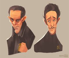 Jopling and Dmitri (The Grand Budapest Hotel)doing some quick caricature exercises.