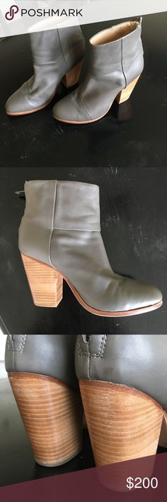 Grey Rag and Bone Newbury Booties (sz 39.5) Grey leather rag and bone Newbury booties. Great condition, a small amount of wear on the bottom and the heel, but the leather is flawless. Only worn twice. rag & bone Shoes Ankle Boots & Booties
