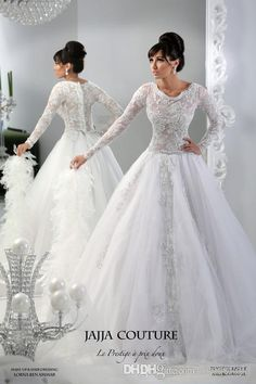 Wholesale Wedding Dress with Sleeves - Buy - Arabic 2014 Sheer Wedding Dresses Lace Applique Jewel Neck Sleeveless Long Sleeve Button Back Tulle Bridal Gowns Jajja Couture, $194.93   DHgate