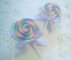 Pastel Swirl Lollipop Pin  Decora Fairy Kei Kawaii by JacieKakes