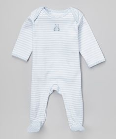 Love this Vitamins Baby White & Blue Stripe Bear Footie - Infant by Vitamins Baby on #zulily! #zulilyfinds