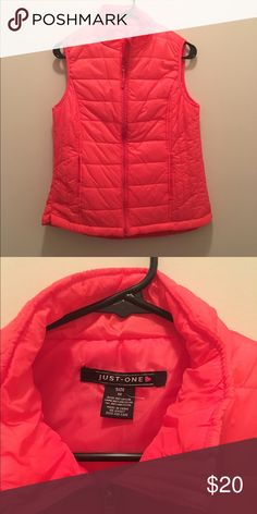 Winter Vest Never worn neon salmon colored. Perfect with a pair of jeans and boots Just-one Jackets & Coats Vests
