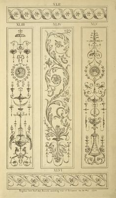 [Three central vertical ornamental designs of vegetal shapes and leaves.]