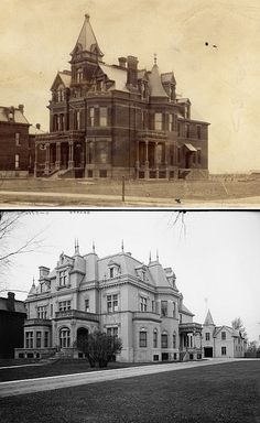 The top Victorian house, the John A. Burt house located on Woodward Avenue in Detroit, was transformed into the bottom chateauesque house, the C.L. Stephens house, only a few years after it was built. Demolished.
