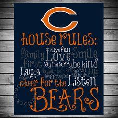 Chicago Bears Wall Art chicago bears football sign, original art, hand painted, sports